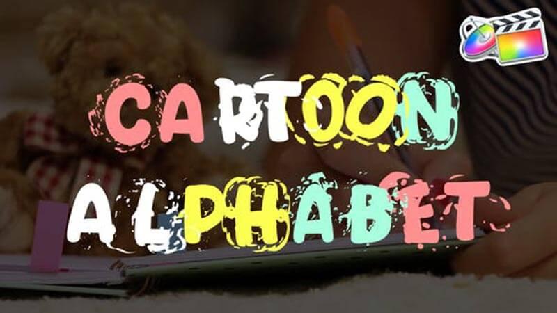 FCPX插件Cartoon Alphabet卡通字幕数字符号元素动画预设
