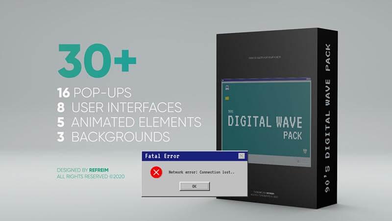 FCPX插件90s Digital Wave Pack怀旧经典Windows电脑弹窗界面动画元素32个